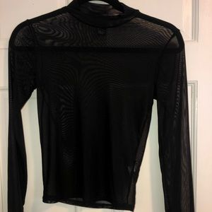 Black Mesh Long Sleeve Top